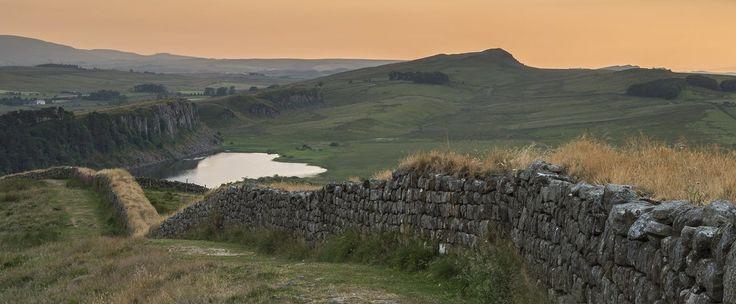 Hadrian's Wall snaking down towards Hotbank and Crag Lough