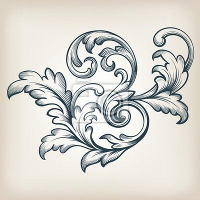 Adesivo vetor vintage barroco quadro padrão de rolagem - folhagens • Adesivo da…