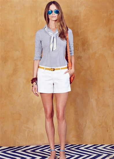 Lizzie Driver The Space Between 3/4 Sleeve Polo and White Golf Short available at #golf4her.com #spring15