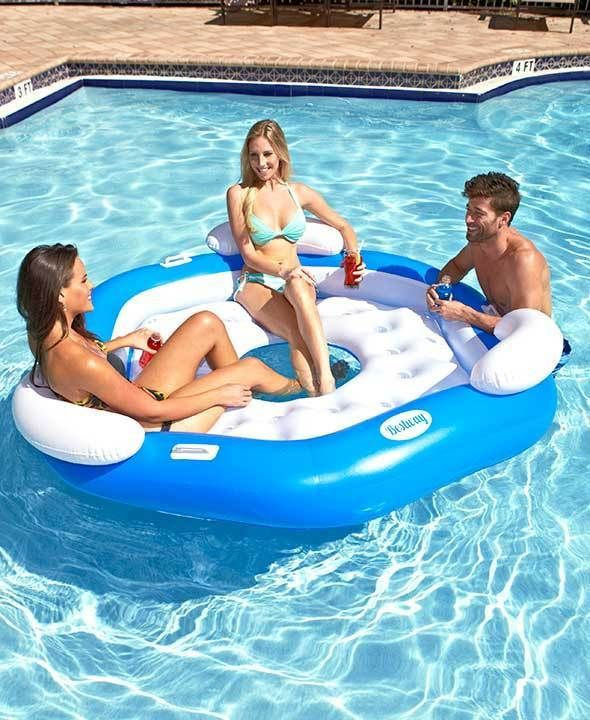 Inflatable 3-Person Island Float Pool Lake Relax On The Water Fun In The Sun New  | eBay