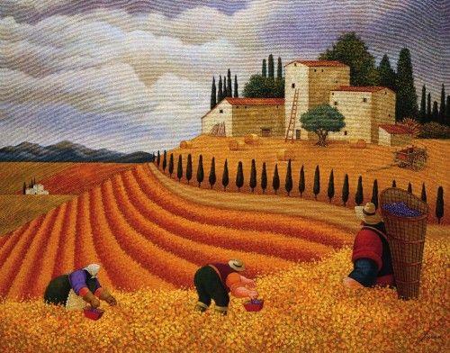 Lowell Herrero,(b.1941 American) Lavander Harvest ... |Sunflower Harvest Lowell Herrero