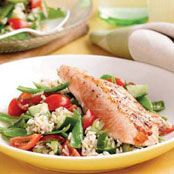Grilled Salmon with brown rice & snow peas Recipe - Quick and easy at woolworths.com.au