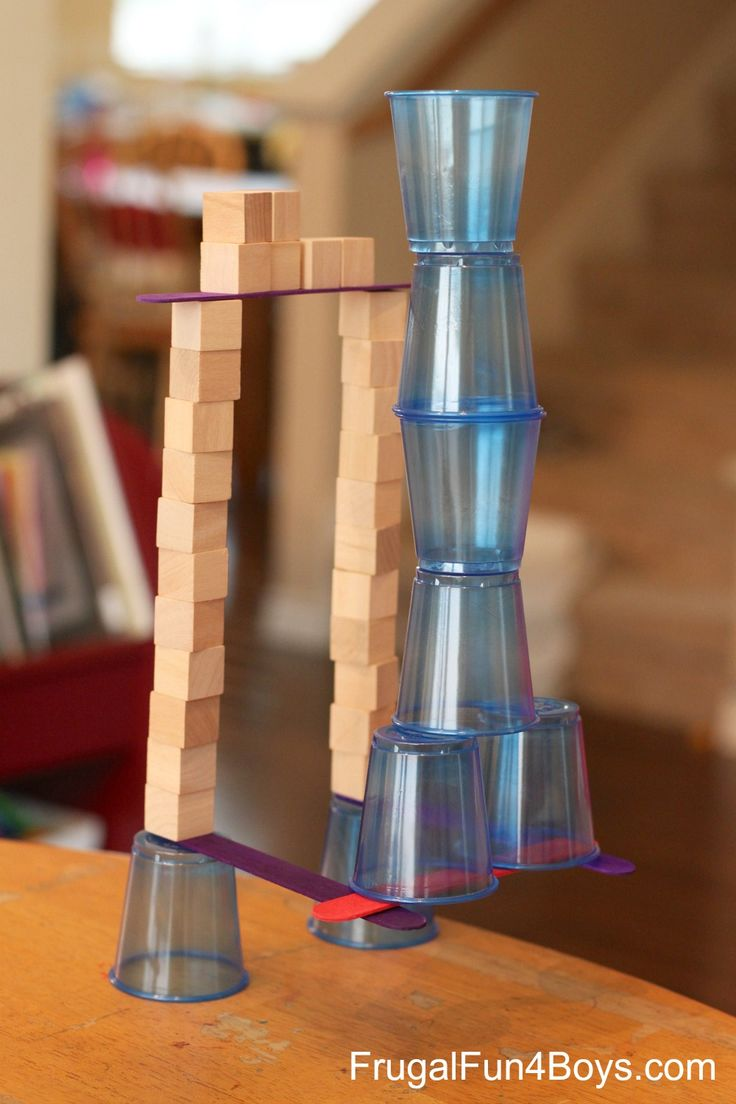 4 Engineering Challenges for Kids (Cups, Craft Sticks, and Cubes