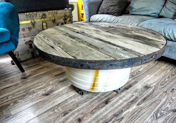 Wash Tub Basin Coffee Table Reclaimed Round Wood Metal Etsy