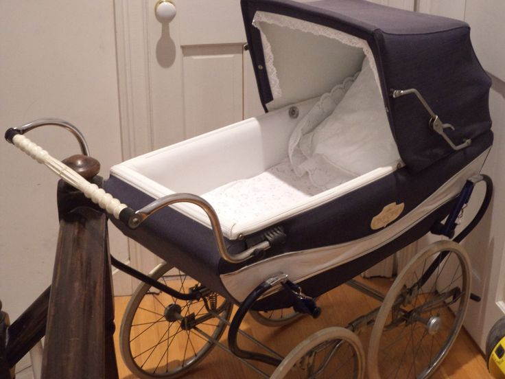Vintage+Peg+Perego+Cloth+Sided+Baby+Pram+Navy+and+by+LollyPopStix,+$100.00