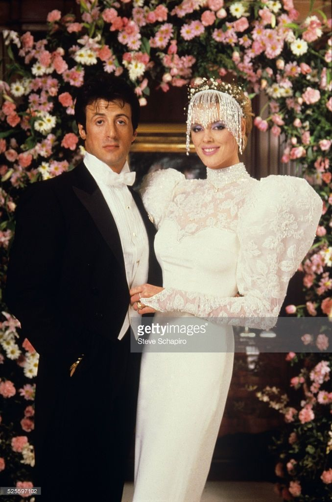 Iconic bridal fashion through the ages ~ Sylvester Stallone and Brigitte Nielsen at their wedding in 1985.
