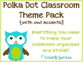 owl classroom theme pack...blue and green polka dots