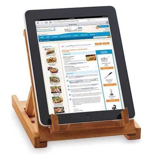 how many of you have a tablet that you use in the kitchen with a recipe for cooking? this is one of our hottest selling products right now! Bamboo Tablet Stand - The Pampered Chef®
