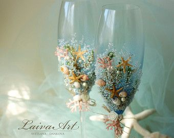 Beach Wedding Champagne Flutes Wedding Champagne by LaivaArt