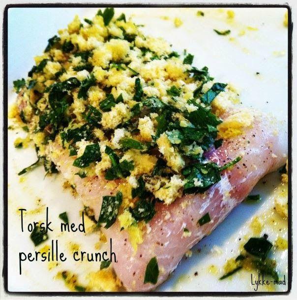 Torsk med persille crunch og grillede grøntsager
