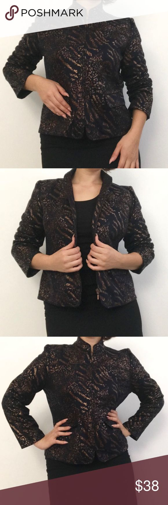 Alfred Dunner Jacket Top Zip Up Blazer Excellent condition Alfred Dunner bronze and black jacket blazer zip-up top. Animal print jacket. Mandarin collar. Alfred Dunner Jackets & Coats