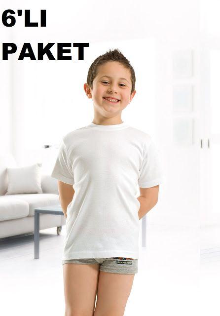 6'lı Paket Özkan Erkek Çocuk Ribana Yarım Kol Fanila 0706