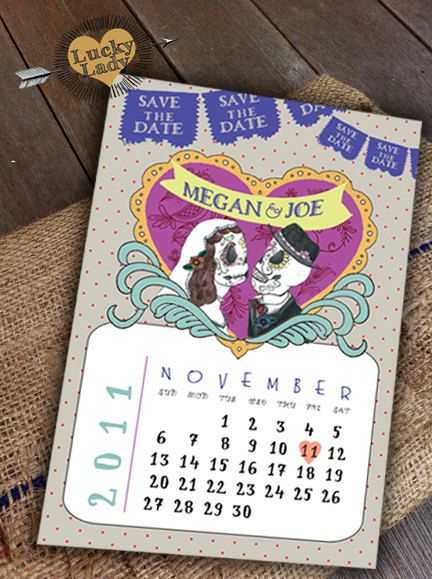 Customizable Cute Day of the Dead Celebration Sugar Skull Día de los Muertos Save the Date by Luckyladypaper