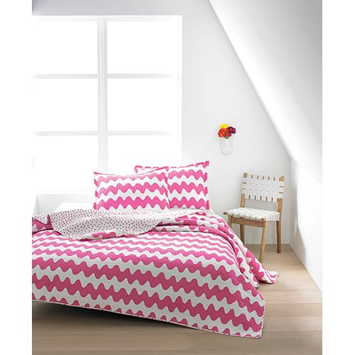 Stripes and dots both find a spot on this super soft bedding set, featuring vintage Maija Isola patterns. Marimekko Lokki Pink / Uto Pink Quilted Bedding - $29.99 - $200
