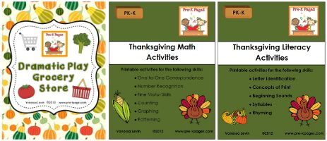 Thanksgiving literacy center activities for preschool, pre-k, kindergarten, and childcare. Free printables to download for letters, sight words, and more.