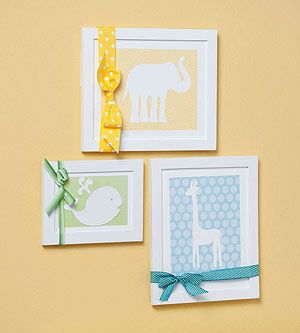 Animal Silhouettes Animal silhouettes cut from plain white cardstock and mounted on colorful patterned paper are cute for a nursery and can be customized for a boy or a girl or be gender-neutral. Adhere the papers to a white mat board cut to fit inside a frame and tie a ribbon around the frame.