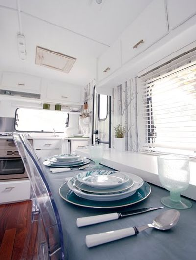 Another view of chic caravan interior!