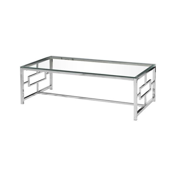 Best Master Furniture Silvertone Stainless Steel/Glass Coffee Table