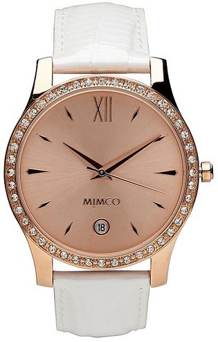 Mimco Harlequin Timepeace Watch in Rose Gold and White