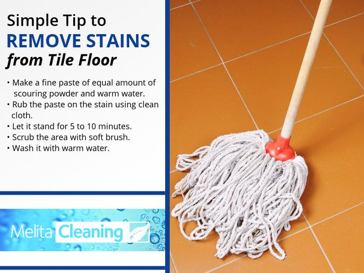 Simple Tip to Remove Stains from Tile Floor - •Make a fine paste of equal amount of scouring powder and warm water. •Rub the paste on the stain using clean cloth. •Let it stand for 5 to 10 minutes. •Scrub the area with soft brush. •Wash it with warm water.
