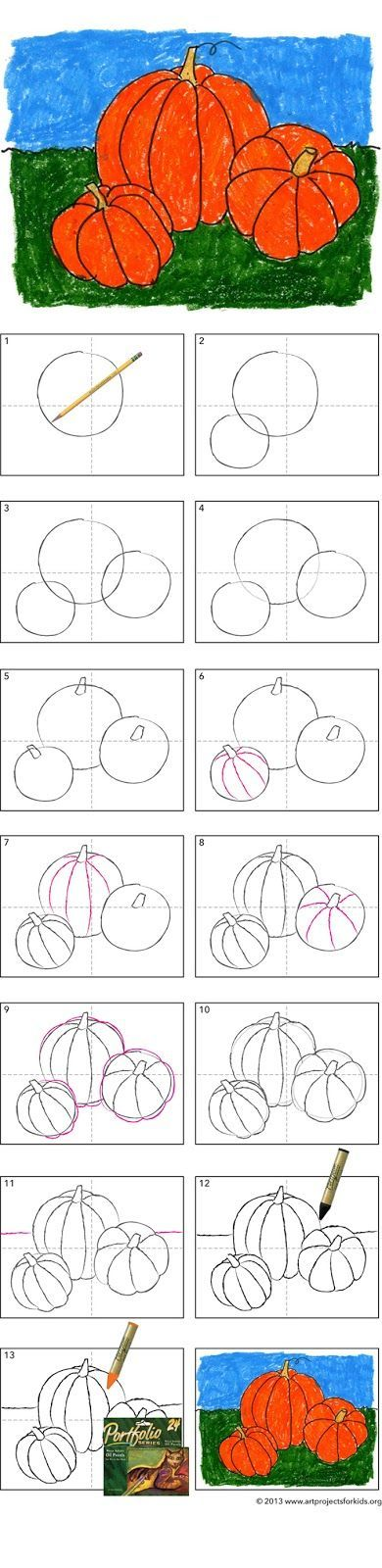 "How to Draw a Pumpkin Tutorial | Do weekly ""how-to"" as brain break (rather than as art project)...kids would love it!"