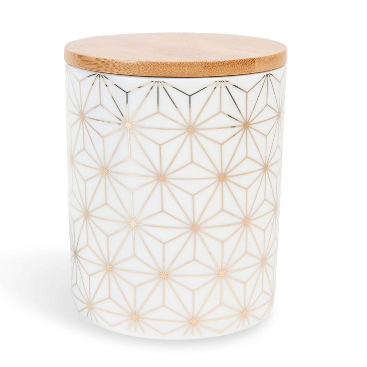 Pot en porcelaine blanc/doré CELESTE | Maisons du Monde
