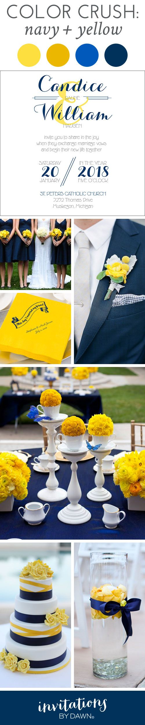 Enjoy the incredibly stylish wedding look of this Navy and Yellow Color Crush from Invitations by Dawn. You're going to love the beautiful contrast.