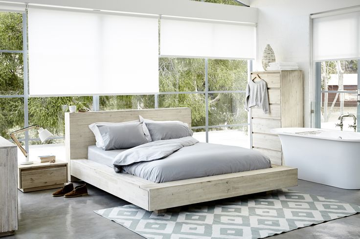 sleepsanctuary // the landscape collection, a stylish bedroom solution. Form follows function. The combination of clean lines and textured white-washed acacia wood gives this range a relaxed, contemporary feel. The collection includes: bed (available in double, queen and king in extra length), single-drawer pedestal, 3-drawer chest and a 6-drawer tall boy.