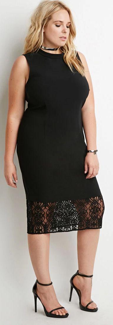 Plus Size Mock Neck Lace-Paneled Dress
