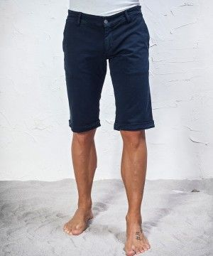 #45parallelo: blue mixed #linen #bermuda #shorts suitable for the hottest days, dyed for a worn effect 80%, Cotton and 20% Linen