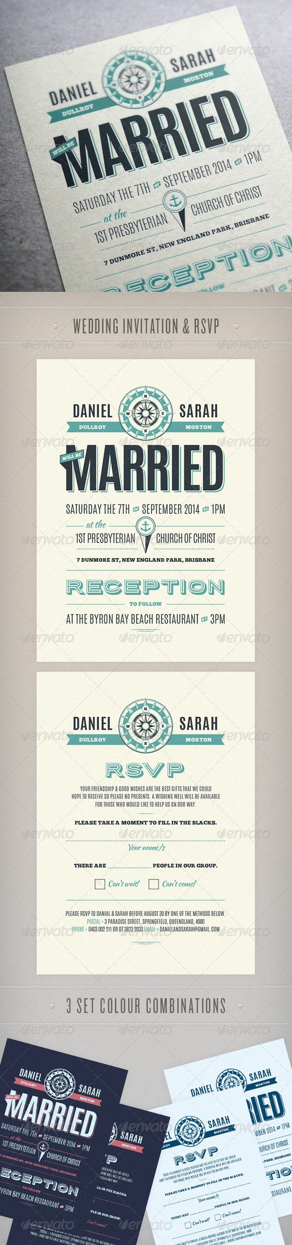 Wedding Invitation & RSVP in 3 colour combinations.  Size: 105mm wide x 148mm highBleed Area: 3mmColor: CMYK  Fonts used in the de