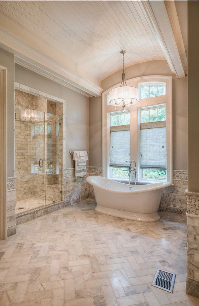 Simple Ideas For Creating A Gorgeous Master Bathroom. Click To See!  Bathroom FlooringTile FlooringFlooring IdeasHerringbone FloorsHerringbone  PatternMaster ...