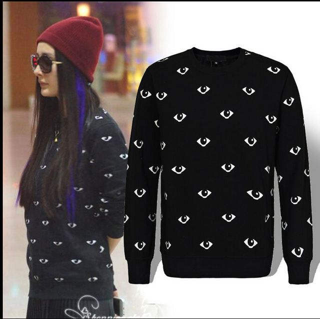 2015 lente kleding mode losse ronde kraag de hele lichaam kleine ogen printing hoodie, mannen en vrouwen cottonsweater