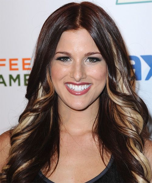 Cassadee Pope... long, dark hair with blonde peek-a-boo highlights in the front