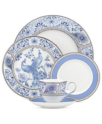 Marchesa by Lenox Dinnerware, Sapphire Plume 5 Piece Place Setting - Fine China