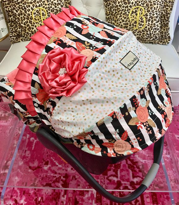 Floral Stripe Car Seat Cover for Girl. Coral Girl Carseat