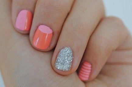 : Coral Pink, Nails Art, Nails Design, Rings Fingers, Shorts Nails, Glitter Nails, Sparkle Nails, Summer Nails, Nails Polish