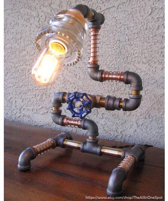 Look industriel Steampunk lampe faite de verre par TheAllInOneSpot