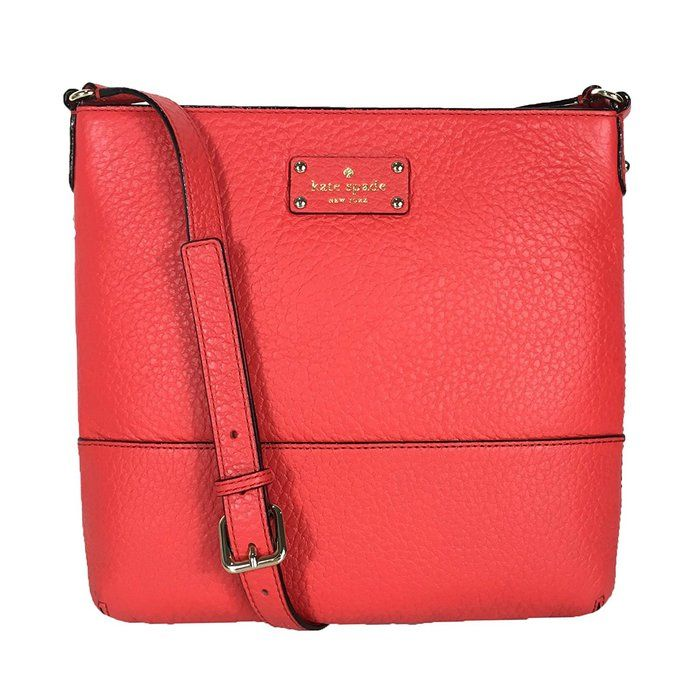 LOVE this Kate Spade bay street cora crossbody bag in Cherry Liquor.  This crossbody bag is made from leather with a natural cowhide trim and features a top zip closure.