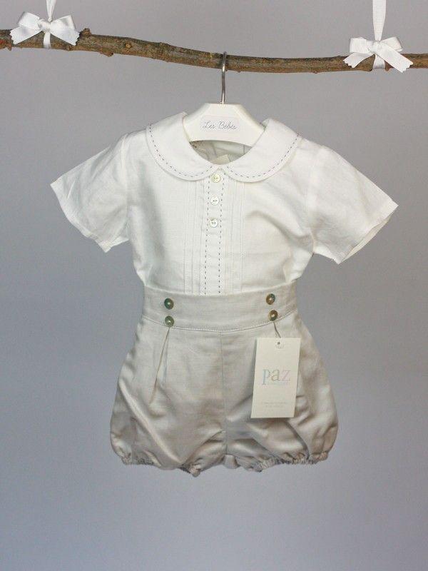 Conjunto ni o paz rodriguez camisa y short blanco y gris - Traje de duende para nino ...