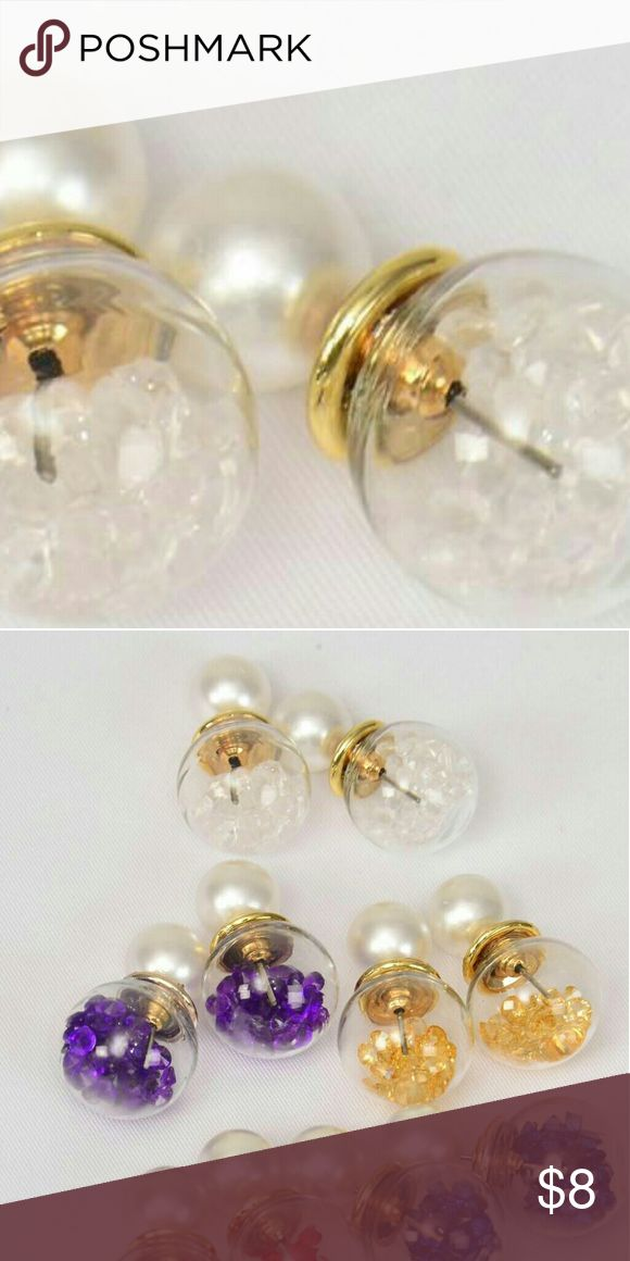 🚨1 HOUR SALE 🚨 Pearl  Double Sided Earrings White Pearl  Glass Ball Double Sided Earrings Jewelry Earrings
