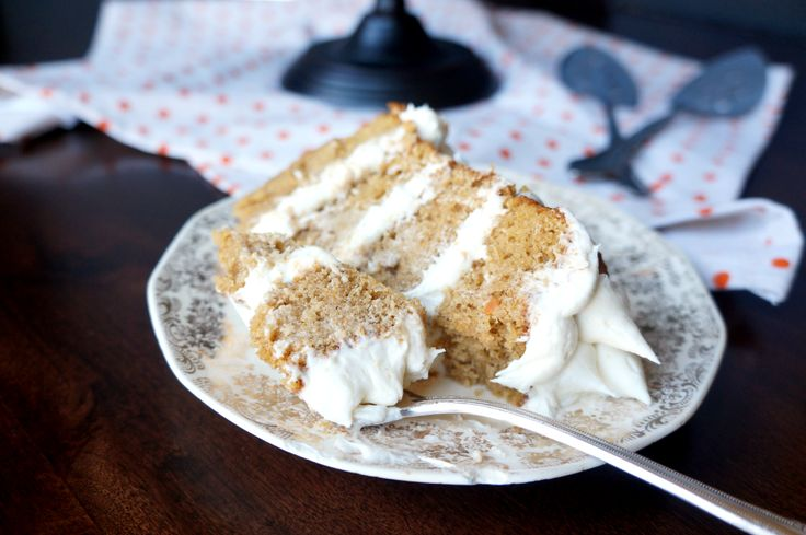 must try rich, moist, spiced sweet potato layer cake (made with alot of butter and oil) with marshmallow fluff american buttercream |