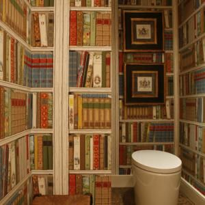 23 Interiors With Wallpapers That Imitate Books | Shelterness