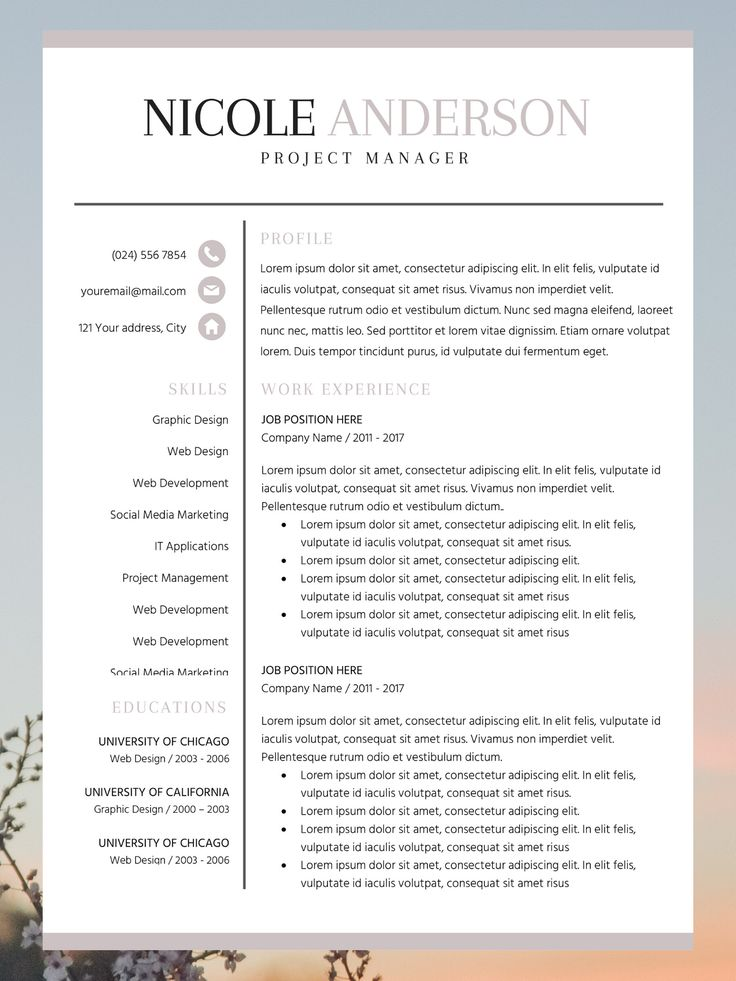 Bold Resume Template Basic CV Layout Nicole Anderson