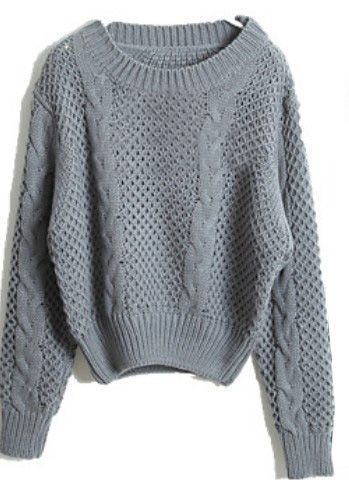 Grey Long Sleeve Hollow Crop Pullovers Sweater - Sheinside.com