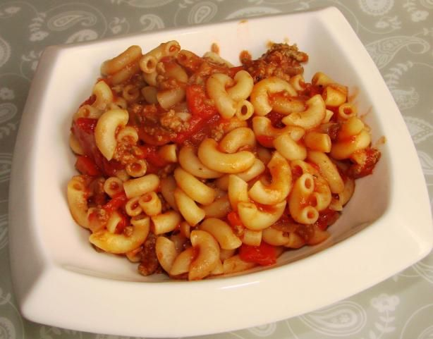 American Chop Suey from Food.com:   								Based on a recipe from Guy Fieri�s book, Diners, Drive-ins and Dives: an All-American Road Trip�With Recipes! This celebrates Red Arrow Diner in Manchester, New Hampshire, a landmark diner established in 1922.