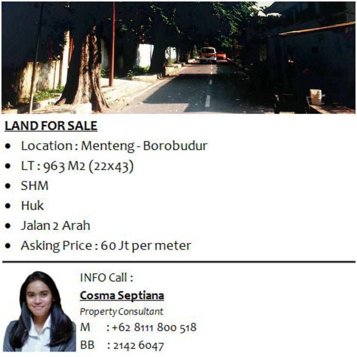 LAND FOR SALE - HOUSE FOR SALE  - Location : Menteng - Borobudur - LT : 963 M2 (22x43) - SHM - Huk - Jalan 2 Arah - Asking Price : 60 Jt per meter  INFO COSMA 08111 800 518