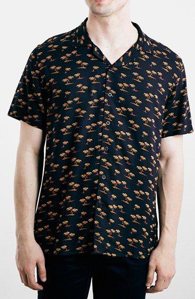 Men's Topman Short Sleeve Hawaiian Print Shirt