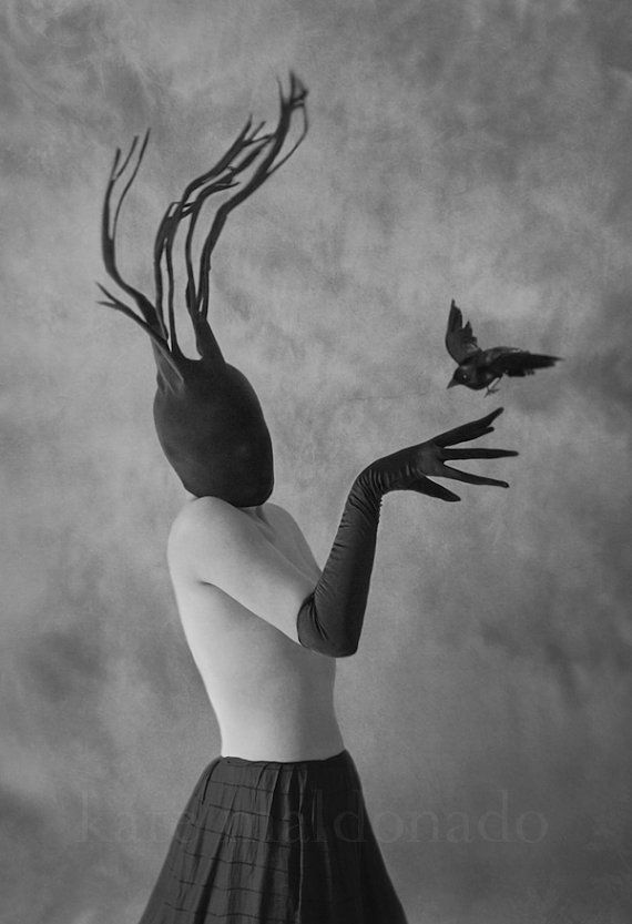 Intuition, Fine Art Surreal Mask Black White Bird Crow Strange Odd Portrait Glove Antlers Horns Woman Dream Conceptual Raven Photography