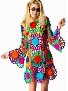 9672e41da48d2 rengarenk bayan örgü motifli elbise modelleri   şal modelleri   Tığ ...